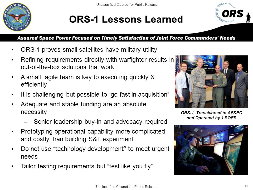 ORS-1 Transitioned to AFSPC and Operated by 1 SOPS