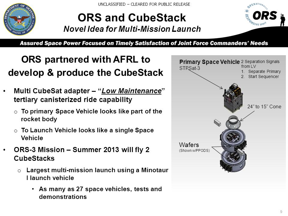 ORS and CubeStack Novel Idea for Multi-Mission Launch