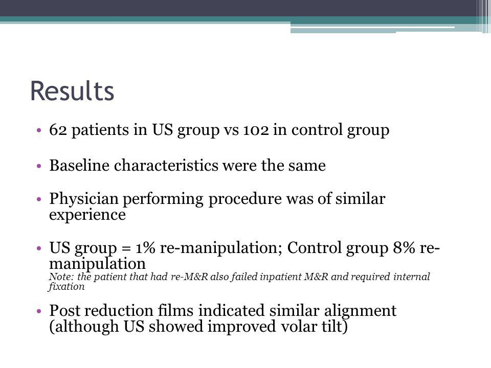 Results 62 patients in US group vs 102 in control group