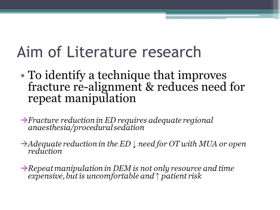 Aim of Literature research