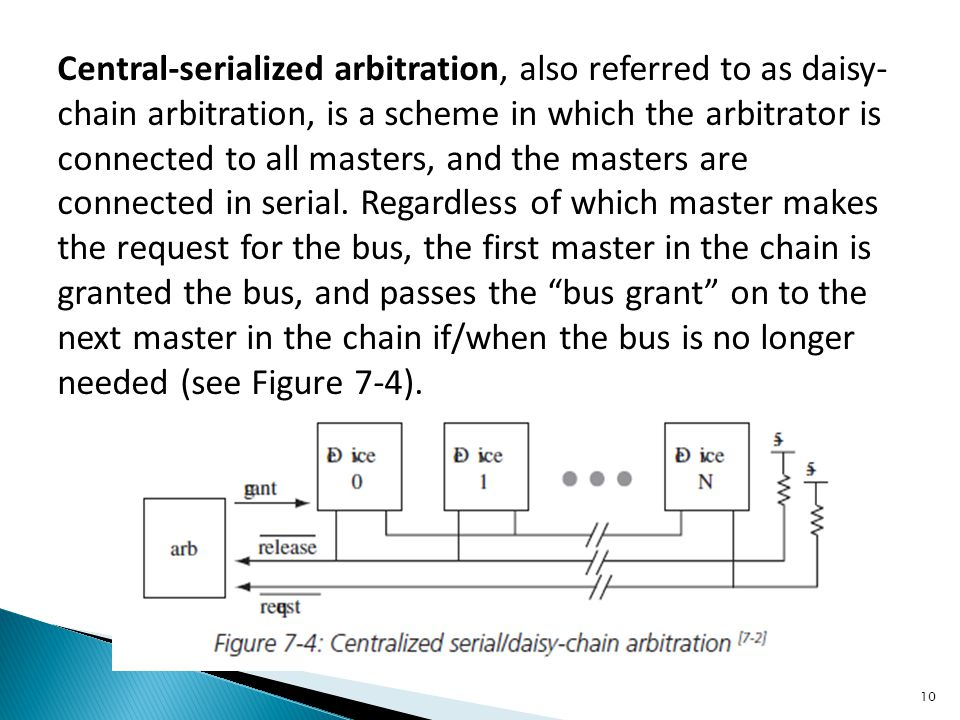 Central-serialized arbitration, also referred to as daisy-chain arbitration, is a scheme in which the arbitrator is connected to all masters, and the masters are connected in serial.