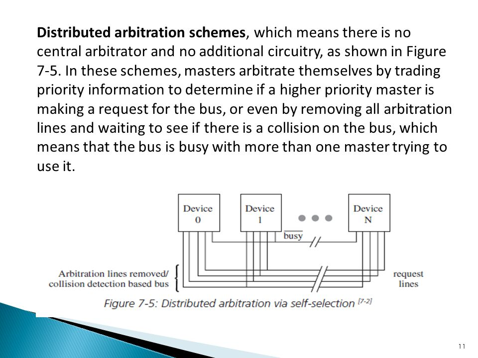 Distributed arbitration schemes, which means there is no central arbitrator and no additional circuitry, as shown in Figure 7-5.