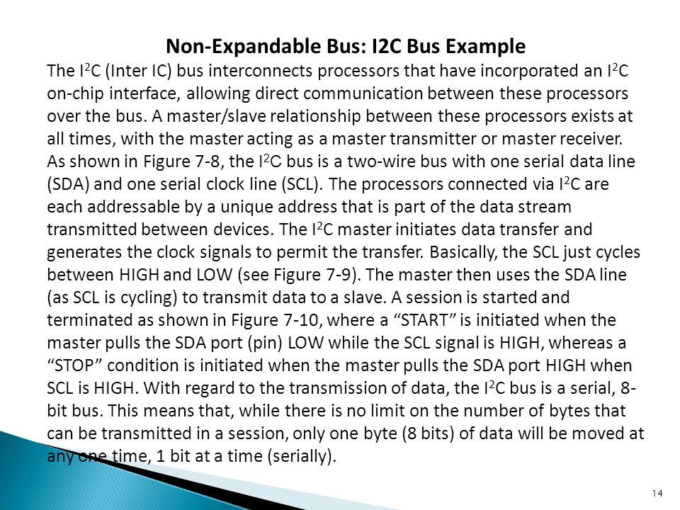 Non-Expandable Bus: I2C Bus Example