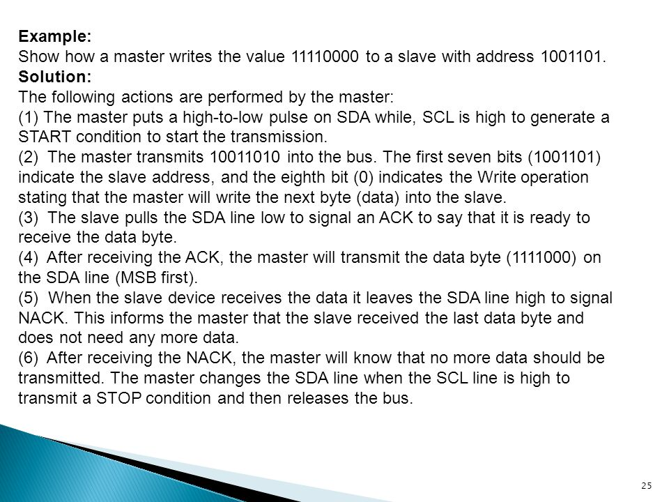 Example: Show how a master writes the value 11110000 to a slave with address 1001101. Solution: The following actions are performed by the master: