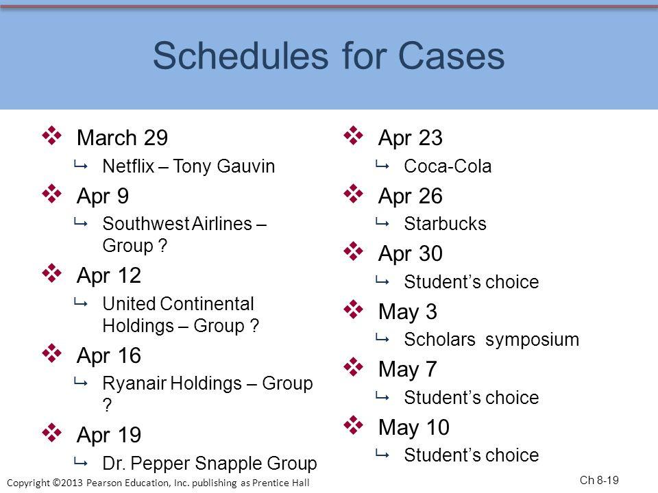 Schedules for Cases March 29 Apr 9 Apr 12 Apr 16 Apr 19 Apr 23 Apr 26