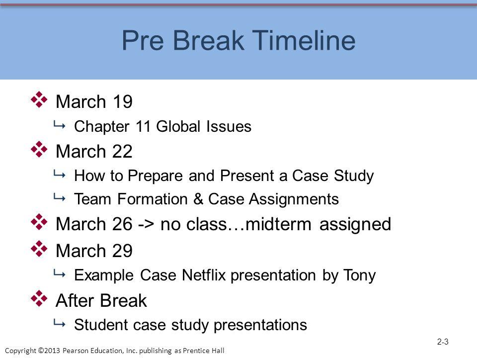 Pre Break Timeline March 19 March 22