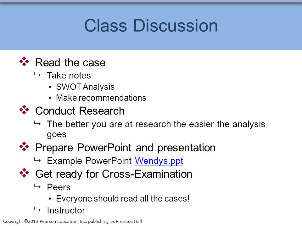Class Discussion Read the case Conduct Research