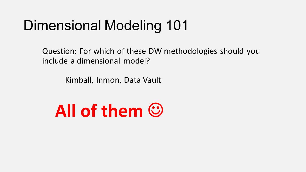 All of them  Dimensional Modeling 101