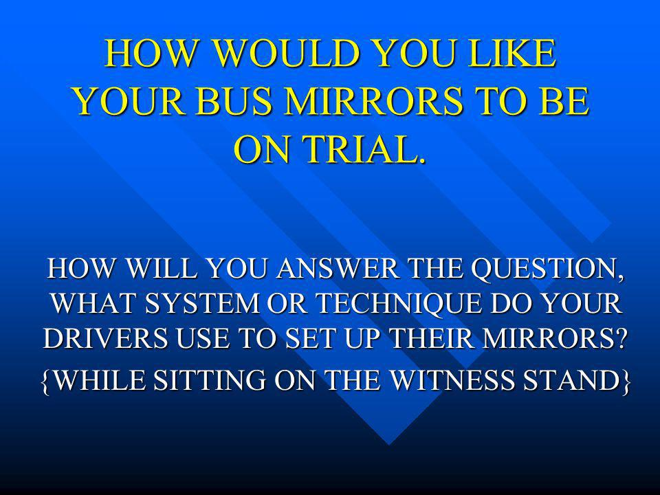 HOW WOULD YOU LIKE YOUR BUS MIRRORS TO BE ON TRIAL.