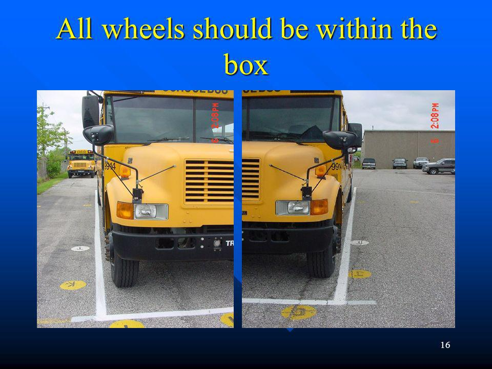 All wheels should be within the box