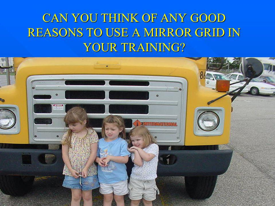 CAN YOU THINK OF ANY GOOD REASONS TO USE A MIRROR GRID IN YOUR TRAINING
