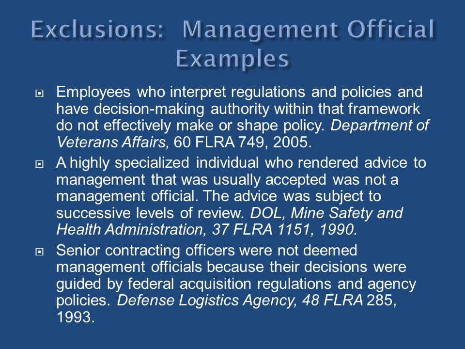 Exclusions: Management Official Examples