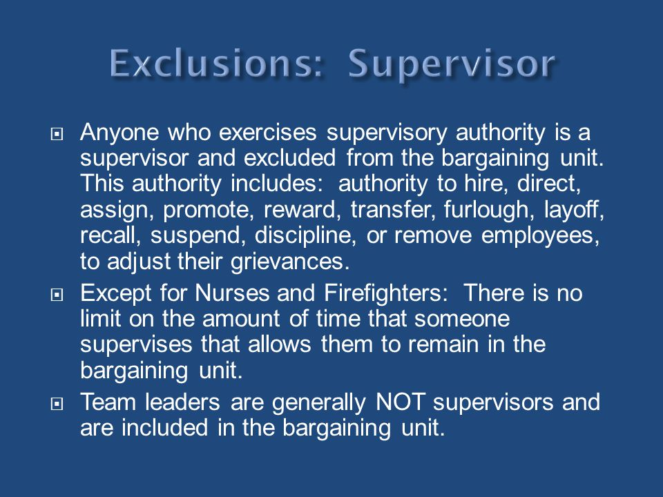 Exclusions: Supervisor