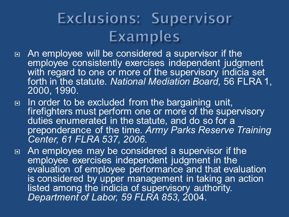Exclusions: Supervisor Examples