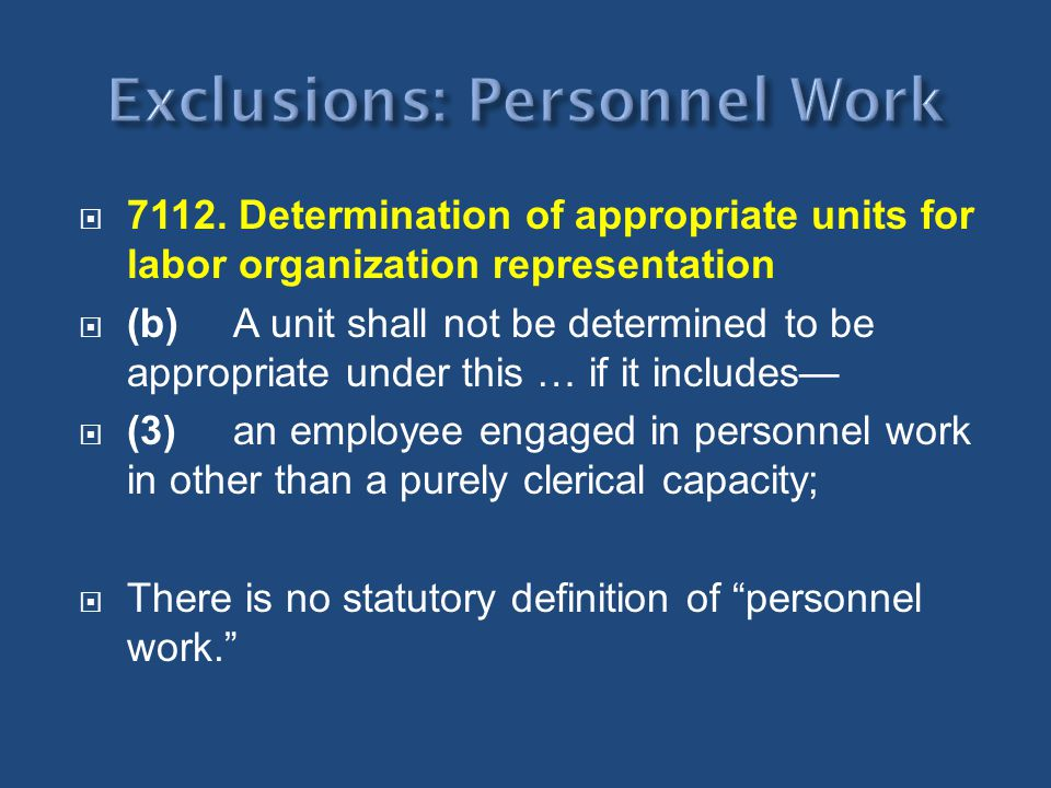 Exclusions: Personnel Work
