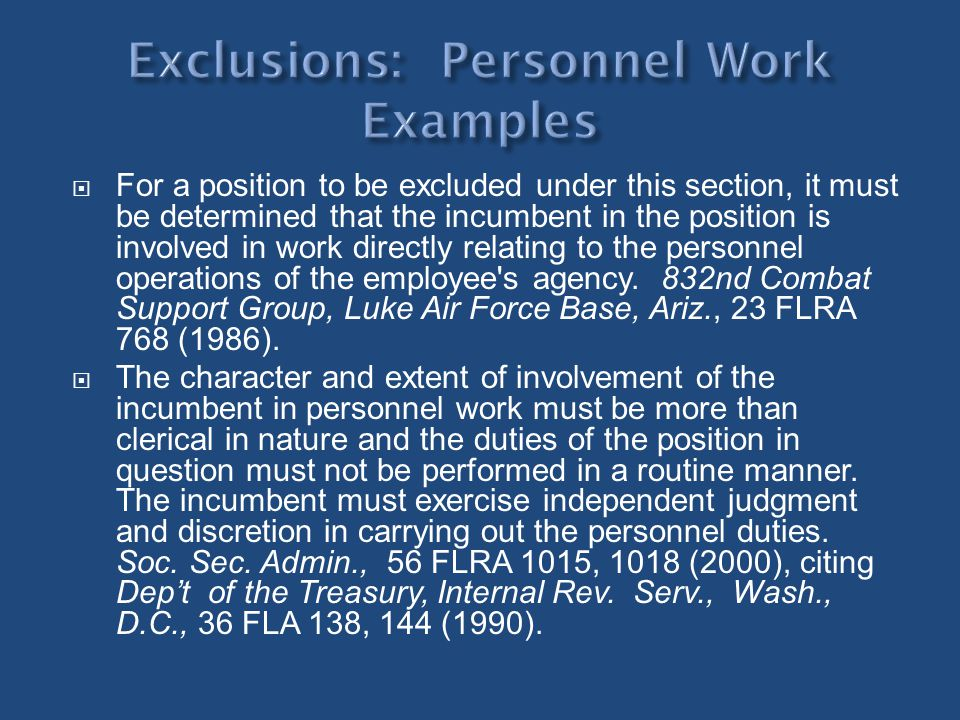 Exclusions: Personnel Work Examples