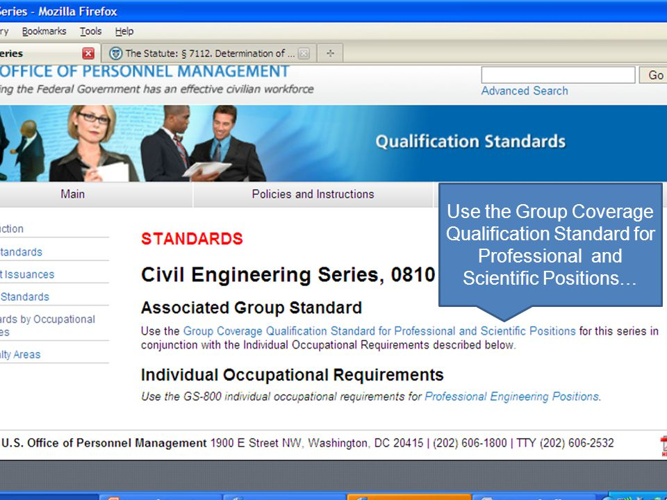 Use the Group Coverage Qualification Standard for Professional and Scientific Positions…