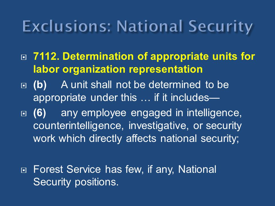 Exclusions: National Security