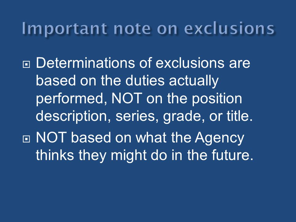 Important note on exclusions