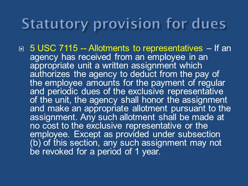 Statutory provision for dues