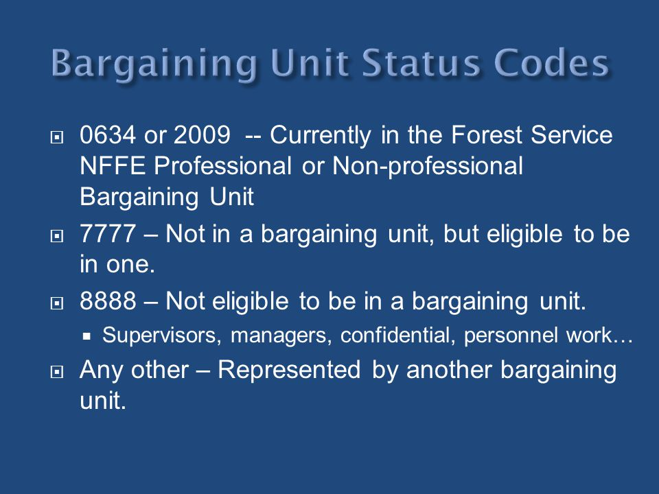 Bargaining Unit Status Codes