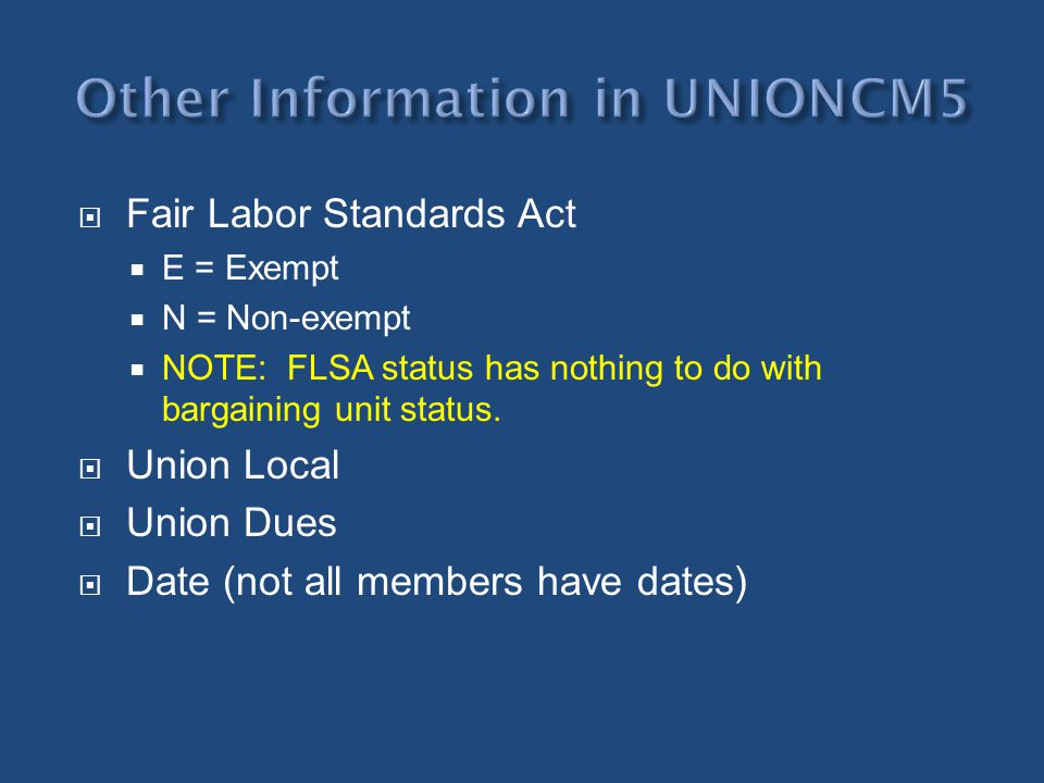 Other Information in UNIONCM5