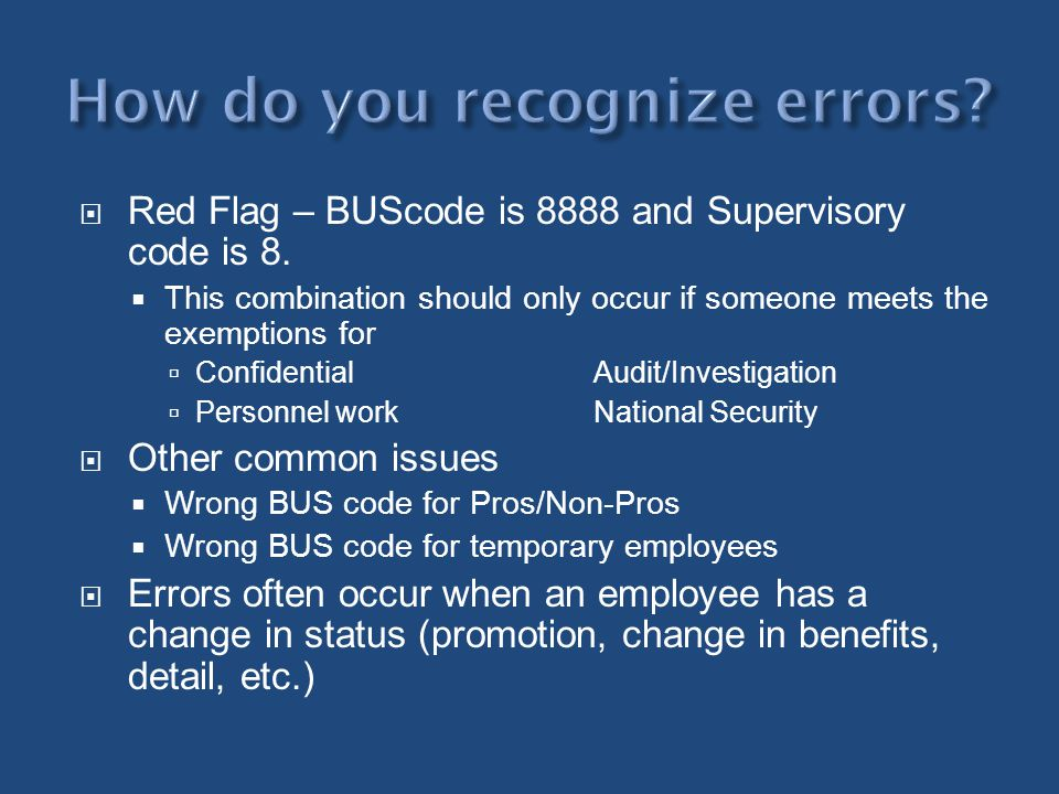 How do you recognize errors