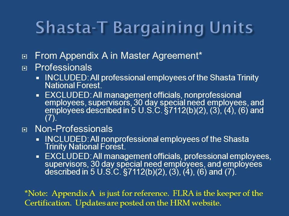Shasta-T Bargaining Units