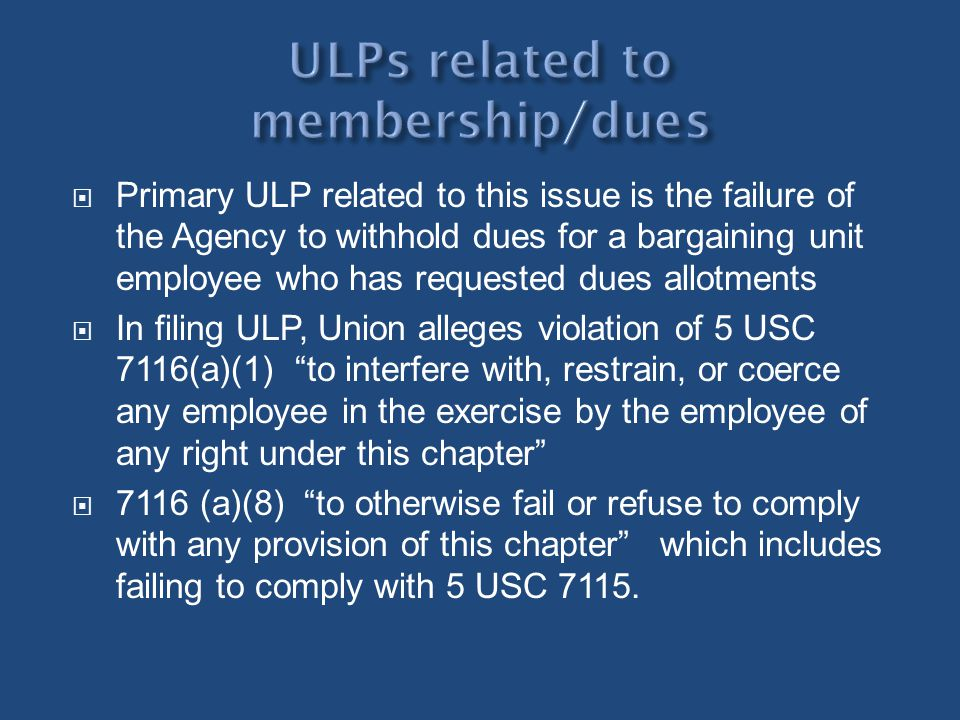 ULPs related to membership/dues