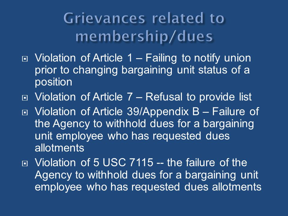 Grievances related to membership/dues
