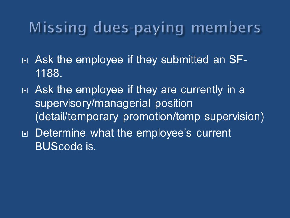 Missing dues-paying members