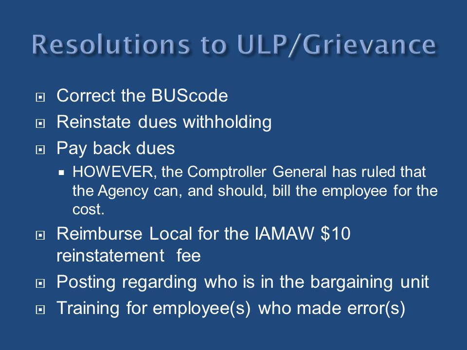 Resolutions to ULP/Grievance
