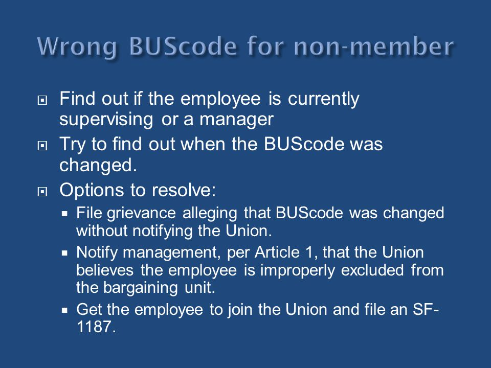 Wrong BUScode for non-member