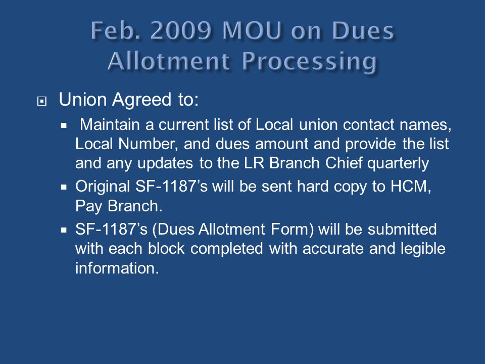 Feb. 2009 MOU on Dues Allotment Processing