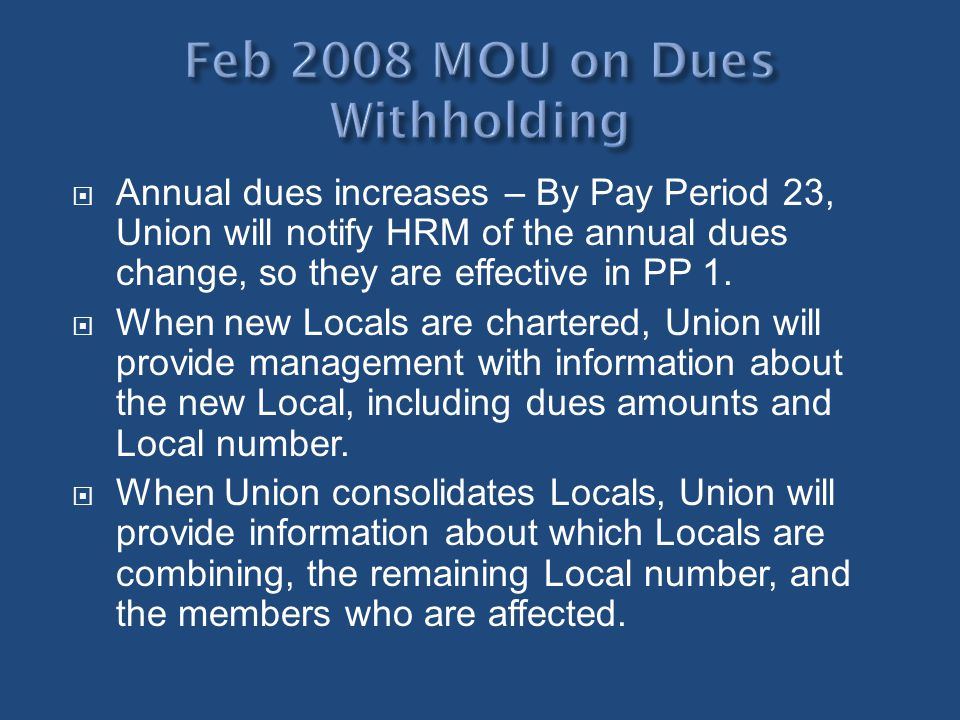Feb 2008 MOU on Dues Withholding