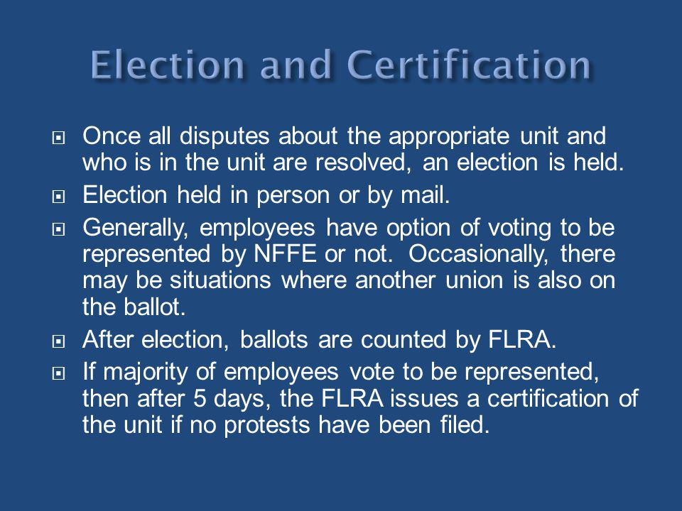 Election and Certification
