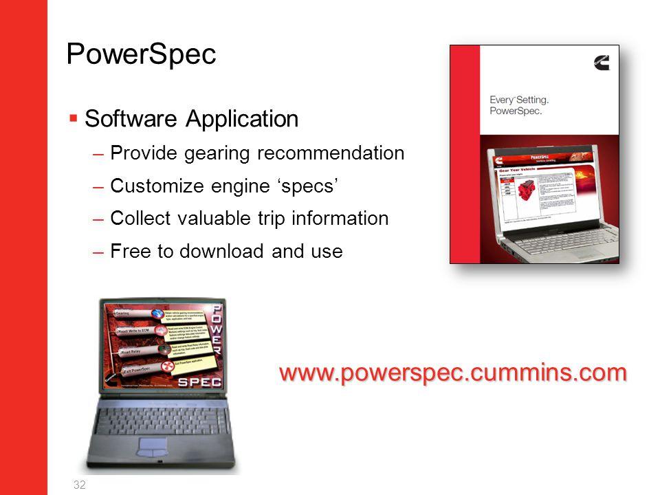 PowerSpec www.powerspec.cummins.com Software Application