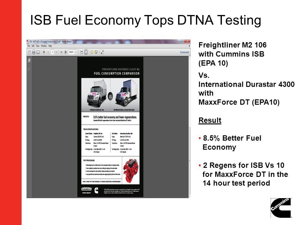 ISB Fuel Economy Tops DTNA Testing