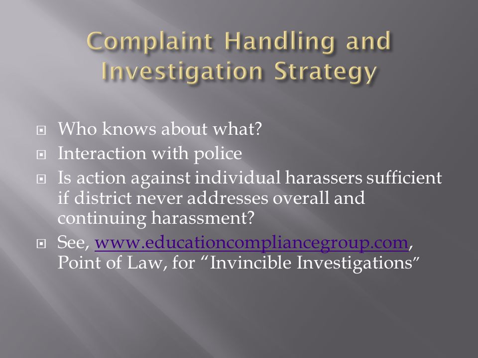Complaint Handling and Investigation Strategy
