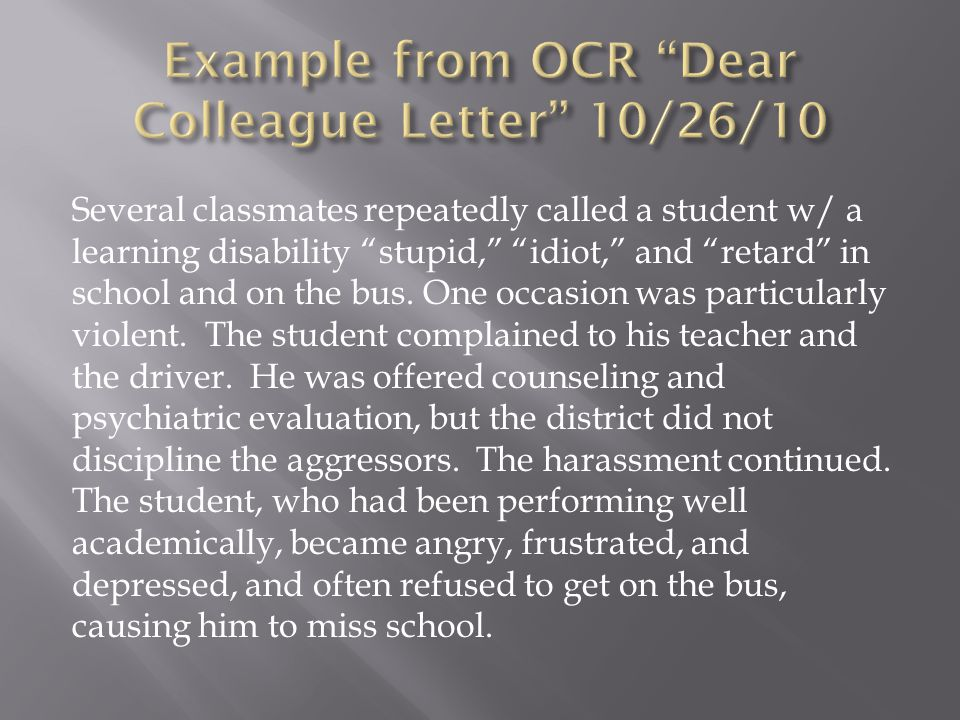 Example from OCR Dear Colleague Letter 10/26/10