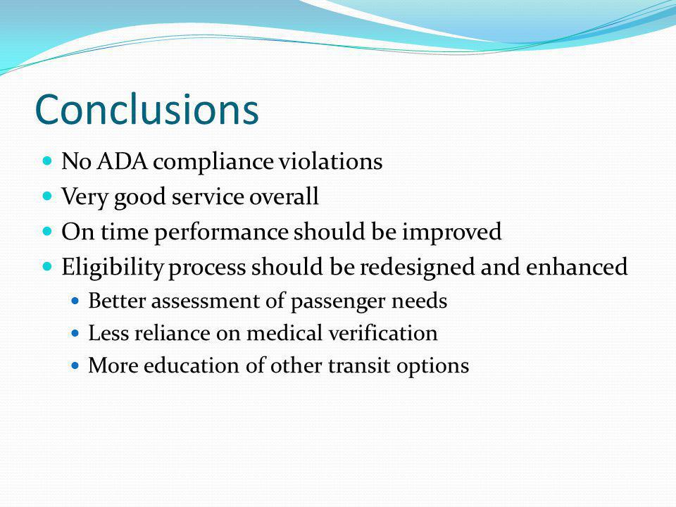 Conclusions No ADA compliance violations Very good service overall