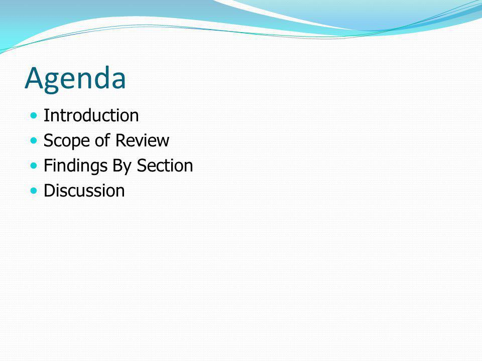 Agenda Introduction Scope of Review Findings By Section Discussion