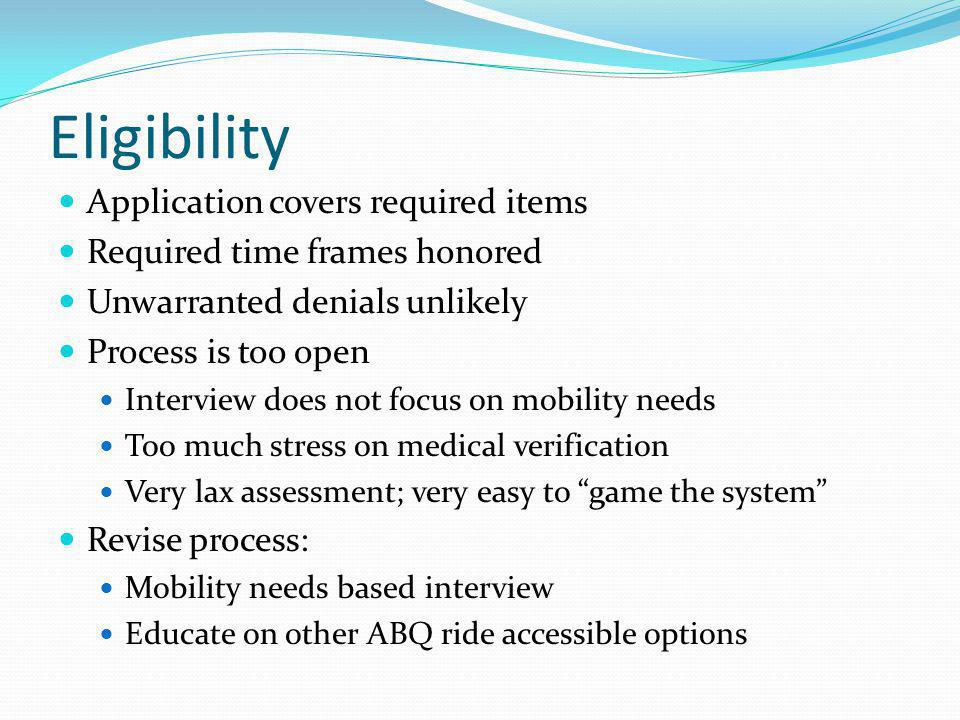 Eligibility Application covers required items