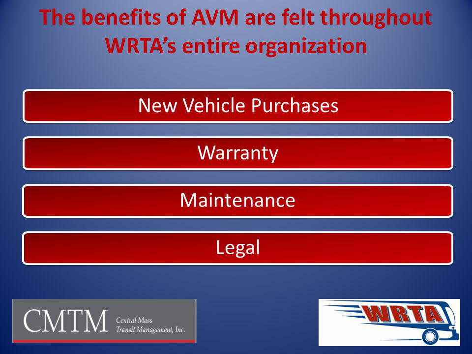 The benefits of AVM are felt throughout WRTA's entire organization