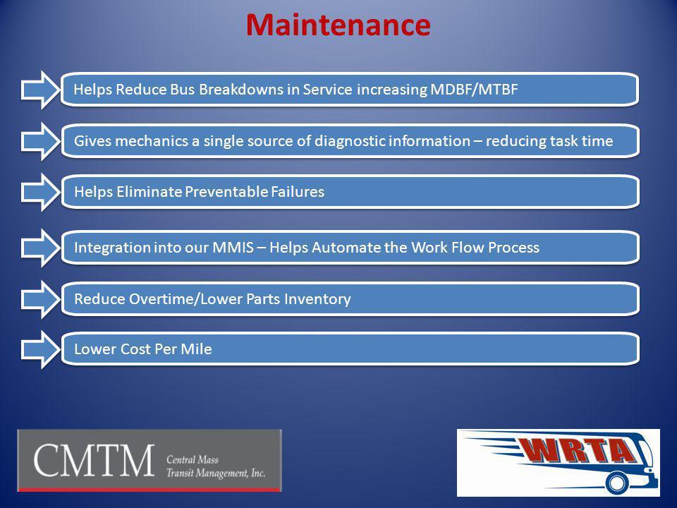 Maintenance Helps Reduce Bus Breakdowns in Service increasing MDBF/MTBF.