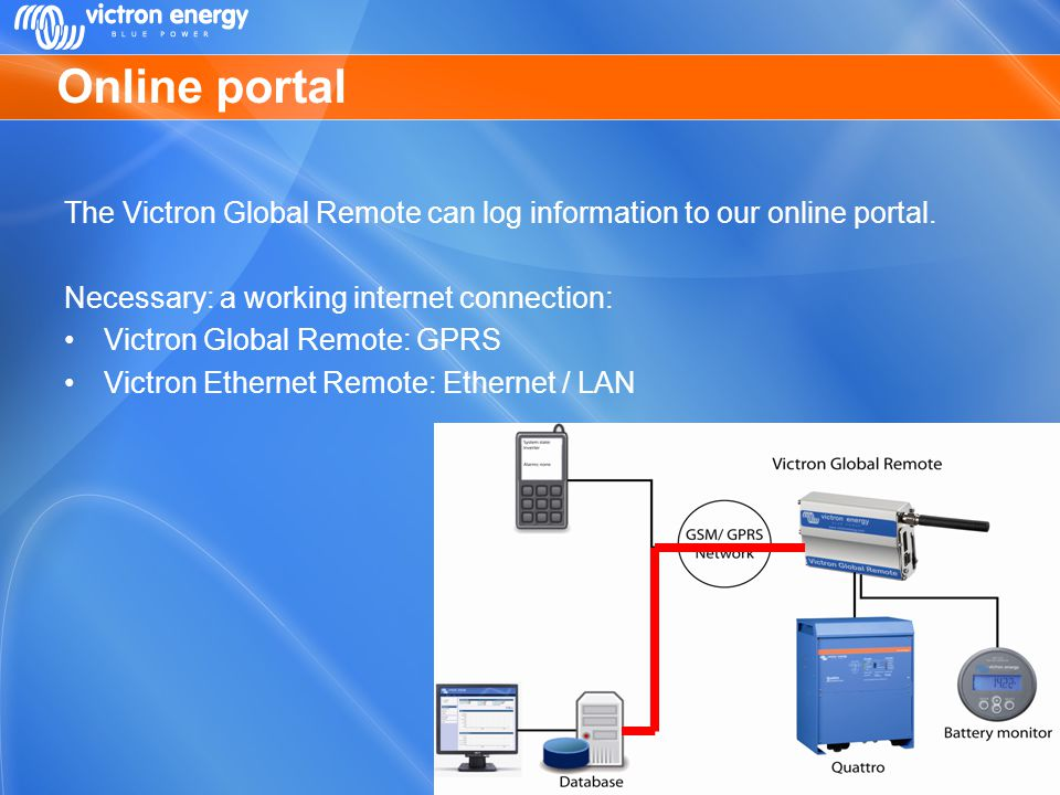 Online portal The Victron Global Remote can log information to our online portal. Necessary: a working internet connection: