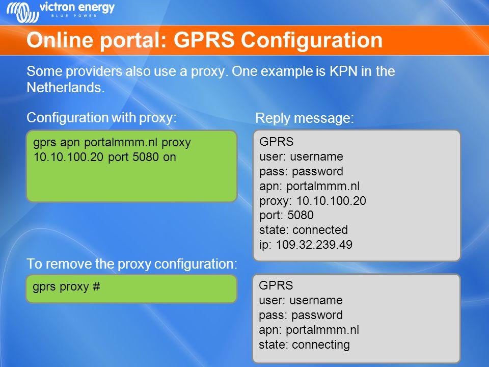 Online portal: GPRS Configuration
