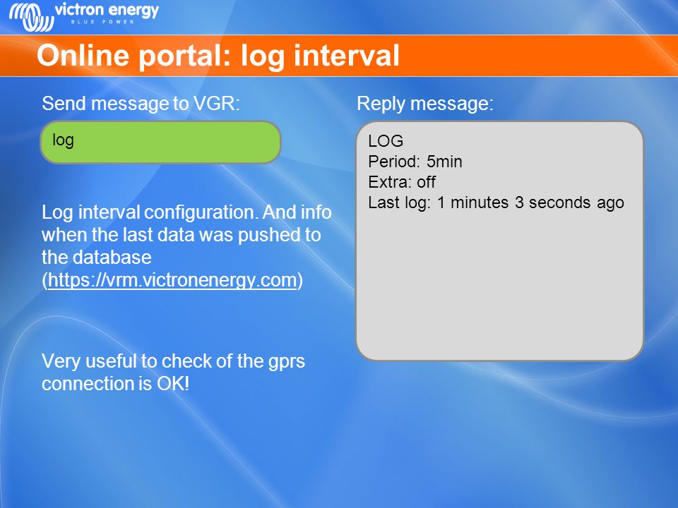 Online portal: log interval