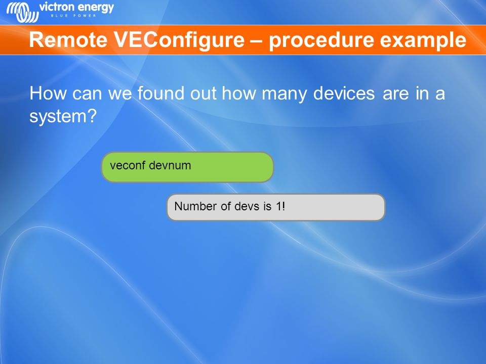 Remote VEConfigure – procedure example