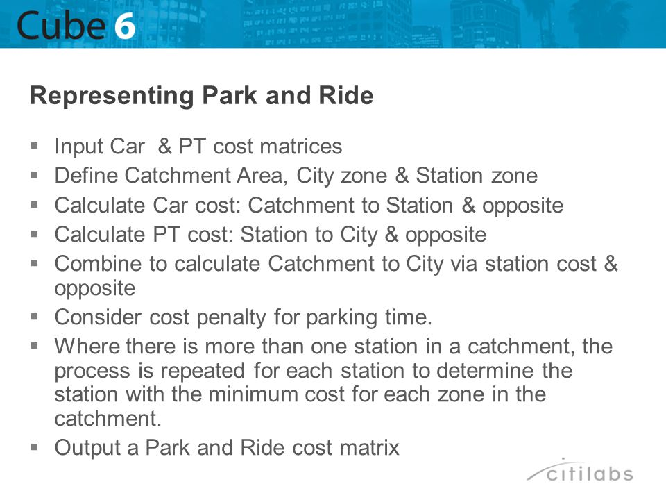 Representing Park and Ride